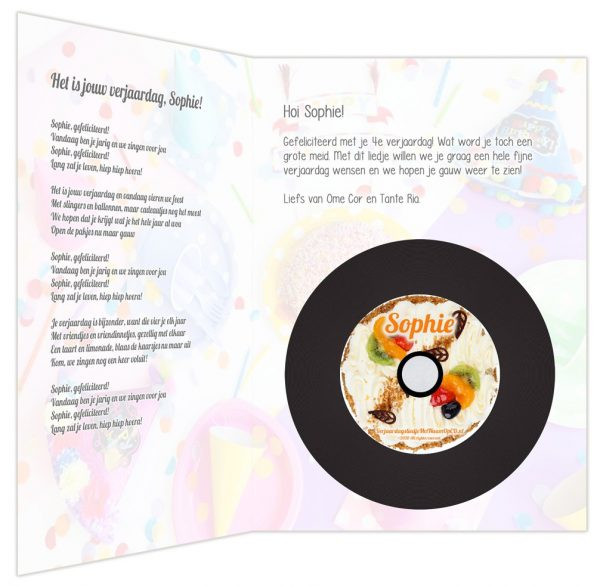 XL Verjaardagskaart met CD - binnenkant